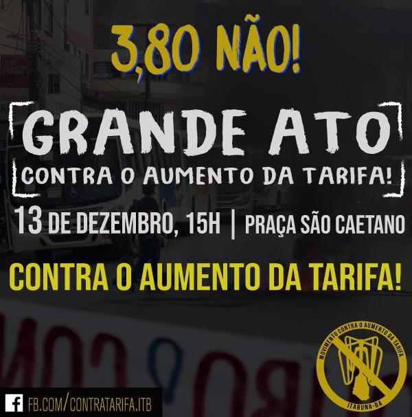 ITABUNA TERÁ MANIFESTAÇÃO CONTRA O AUMENTO DA TARIFA