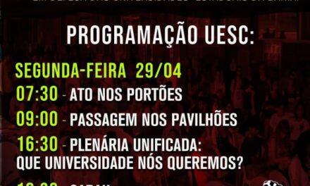 Segunda-feira (29) é dia de luta na UESC