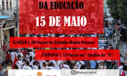 15 de maio| Em greve, professores (as) da UESC participarão de atos unificados em Ilhéus e Itabuna