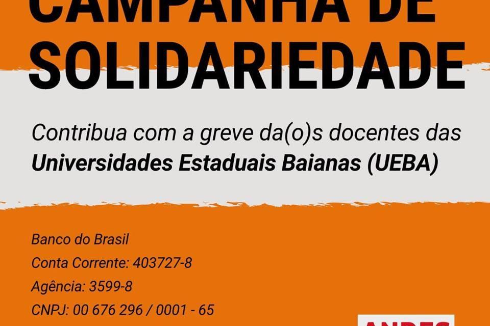ANDES-SN  lança campanha de fundo de solidariedade aos docentes das UEBA