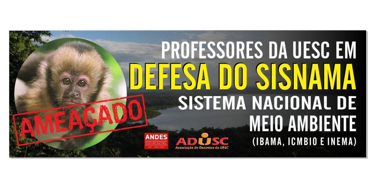 ADUSC convoca docentes para protesto em defesa Sistema Nacional de Meio Ambiente