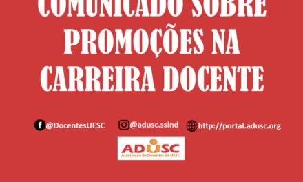 Reitoria responde ofício da ADUSC sobre encaminhamento das promoções