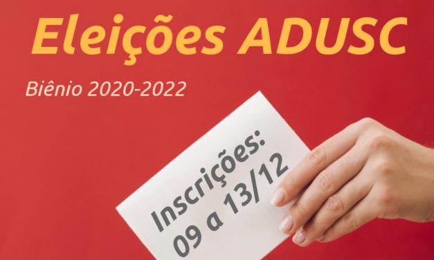 ESTÃO ABERTAS AS INSCRIÇÕES PARA CHAPAS QUE QUEIRAM CONCORRER À DIRETORIA DA ADUSC