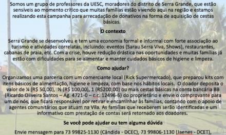 Professores da UESC criam campanha de apoio às famílias de Serra Grande