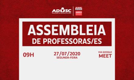 ADUSC CONVOCA ASSEMBLEIA PARA SEGUNDA-FEIRA (27)