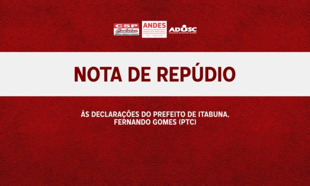 Nota de Repúdio ao Prefeito Fernando Gomes