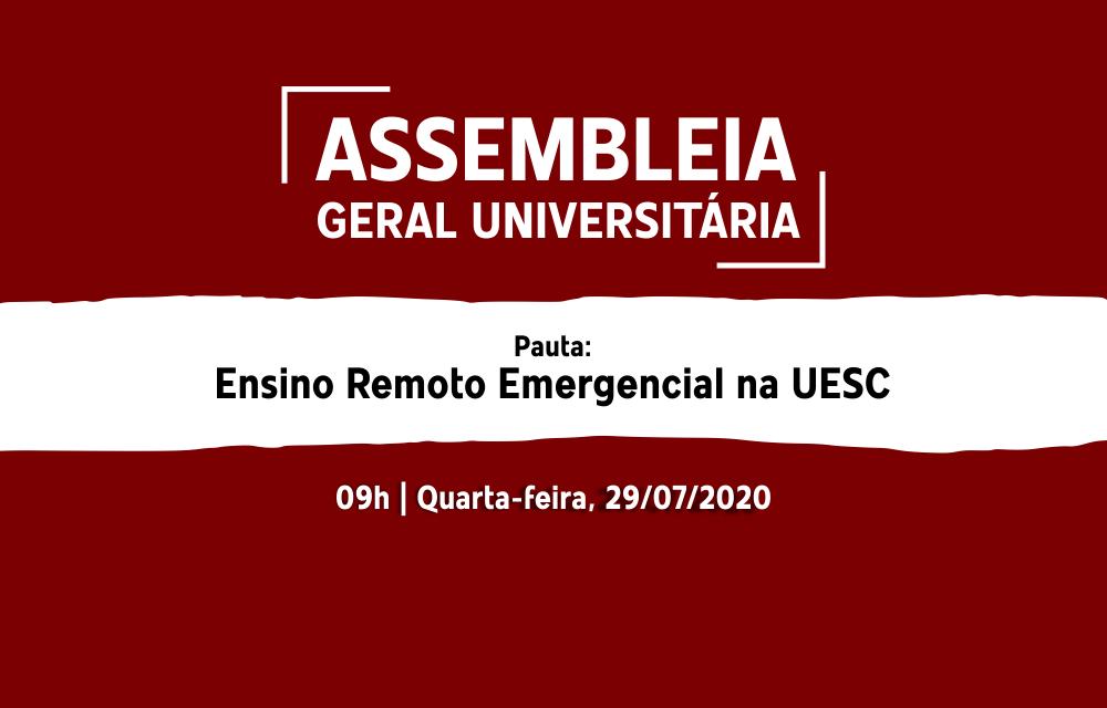 Assembleia unificada discutirá ensino remoto na UESC