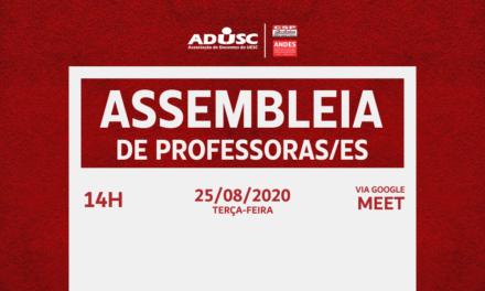 ADUSC convoca assembleia de professores para terça-feira (25)