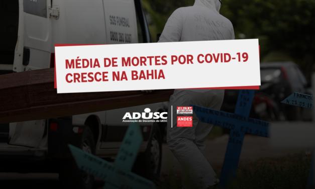 Média de mortes pela Covid-19 cresce na Bahia