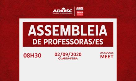 ADUSC convoca professores para assembleia extraordinária