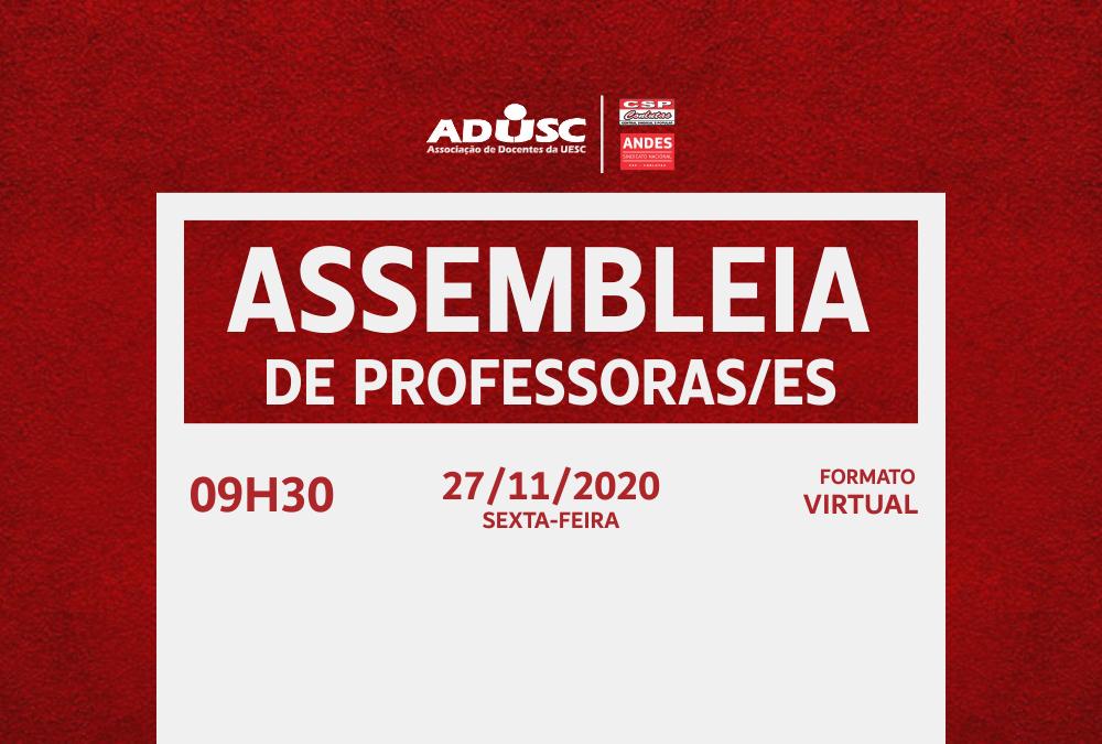 ADUSC convoca docentes para Assembleia Extraordinária