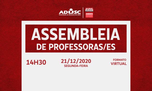 ADUSC convoca professores (as) para Assembleia Extraordinária