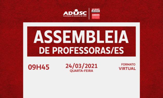 ADUSC convoca Assembleia para esta quarta-feira (24)