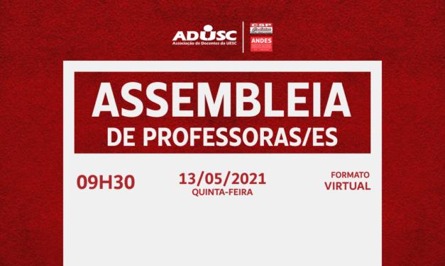ADUSC convoca professores/as para assembleia nessa quinta (13)