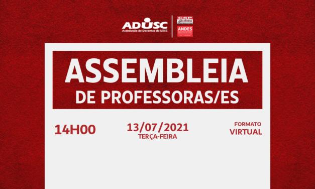 ADUSC convoca Assembleia para discutir retorno presencial na UESC