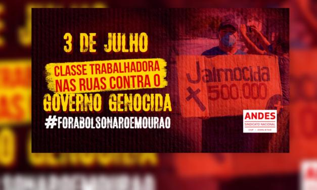 3J: ADUSC participa de Mobilização Nacional pelo Fora Bolsonaro