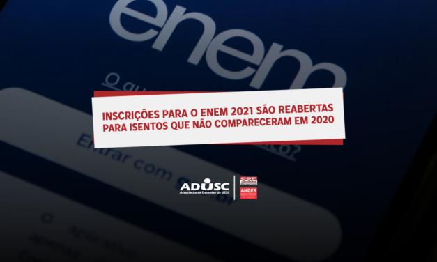 Inscrições para o ENEM 2021 são reabertas para isentos que não compareceram à edição 2020